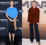 Mackenzie Davis Rocks Ruffles & Rust During her 'Terminator: Dark Fate' Promo Tour
