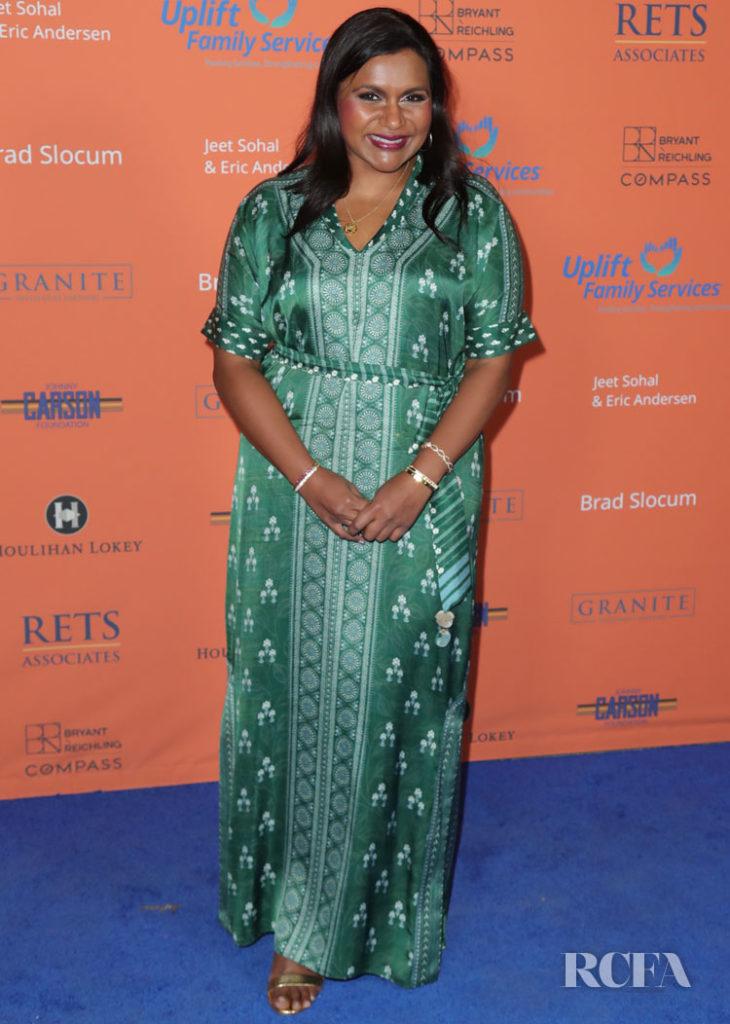 Mindy Kaling Green Kaftan Red Carpet Fashion Awards