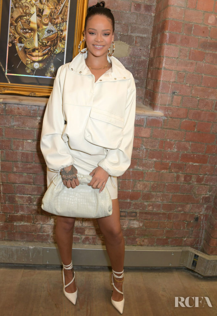 Rihanna Wears Leather Head-To-Toe For The Legado x Faberge x Rome de Bellegarde Collector's Evening