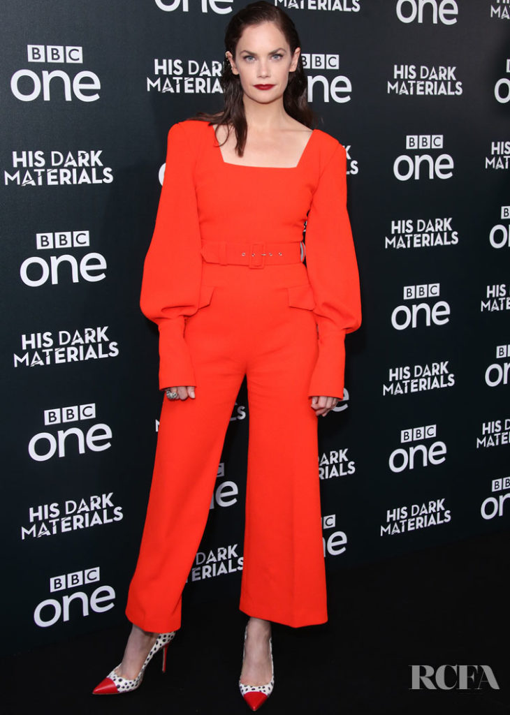 Ruth Wilson Rocks An Orange Emilia Wickstead Jumpsuit For The London Premiere of 'His Dark Materials'