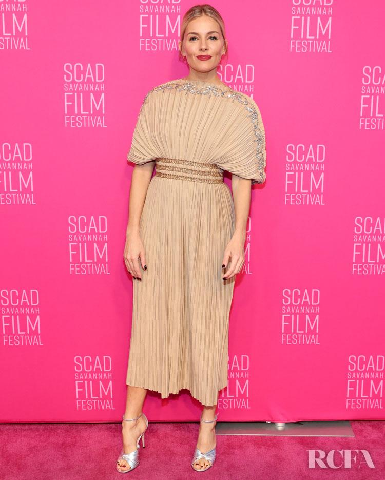 Sienna Miller's Pleated Plissé  For SCAD Savannah Film Festival