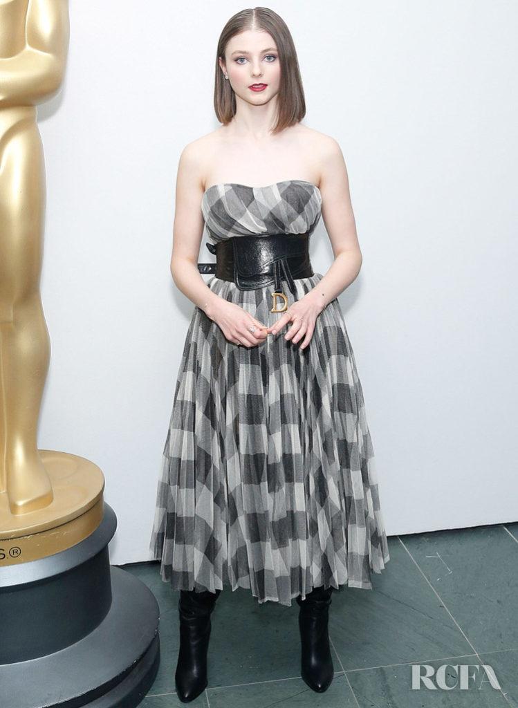 Thomasin McKenzie In Check Dior For The 'Jojo Rabbit' Academy New York Screening