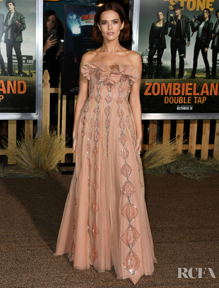 Zoey Deutch Brings Back The Dior Haute Couture Dusky-Pink Trend For The 'Zombieland Double Tap' LA Premiere