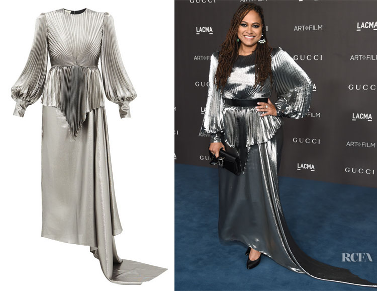 Ava DuVernay's Gucci Balloon-Sleeve Pleated Lamé Gown