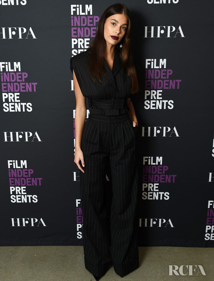Camila Morrone's Pinstripe Suit With A Difference For The 'Mickey And The Bear'  Film Independent Screening