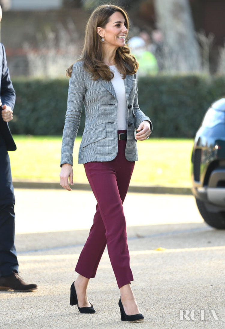 Catherine, Duchess of Cambridge Recycles Her Smythe Blazer For The Shout's Crisis Volunteer Event