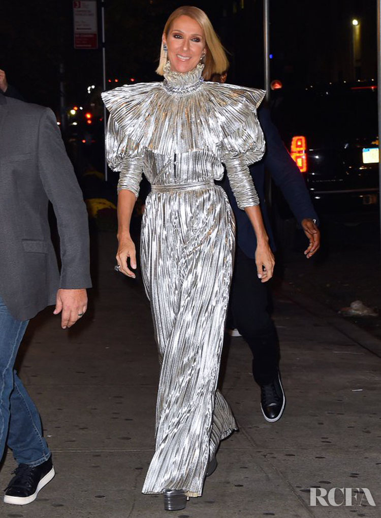 Celine Dion Celebrates Her 'Courage' Album Success In Silver Rodarte