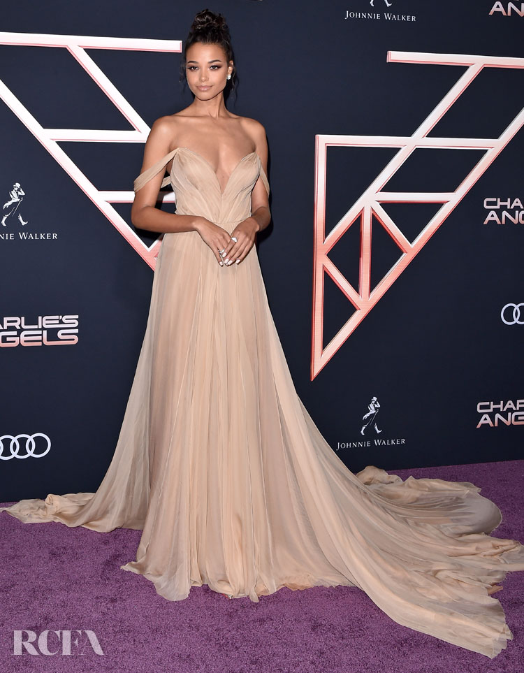 Ella Balinska's Caramel Delight In Vera Wang For The 'Charlie's Angels' LA World Premiere