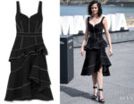 Eva Green's Alexander McQueen Asymmetric Ruffled Denim Dress