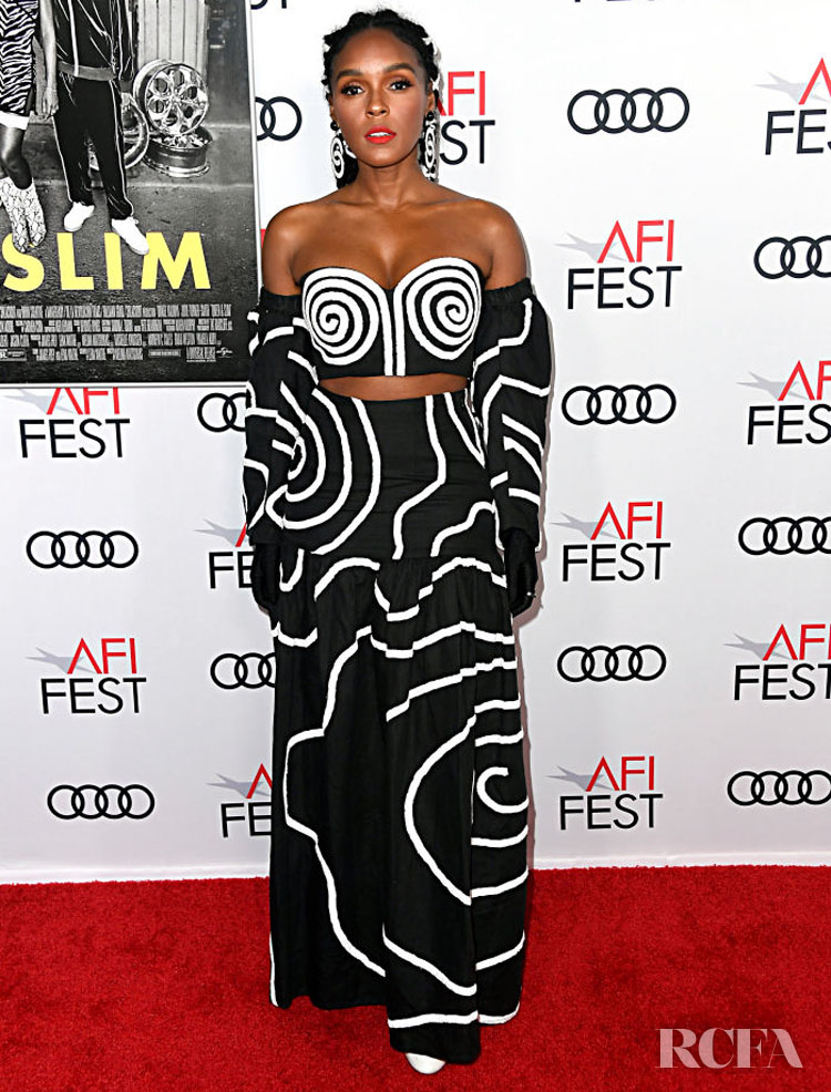 Janelle Monáe's Black And White Graphics For The 'Queen & Slim' LA Premiere