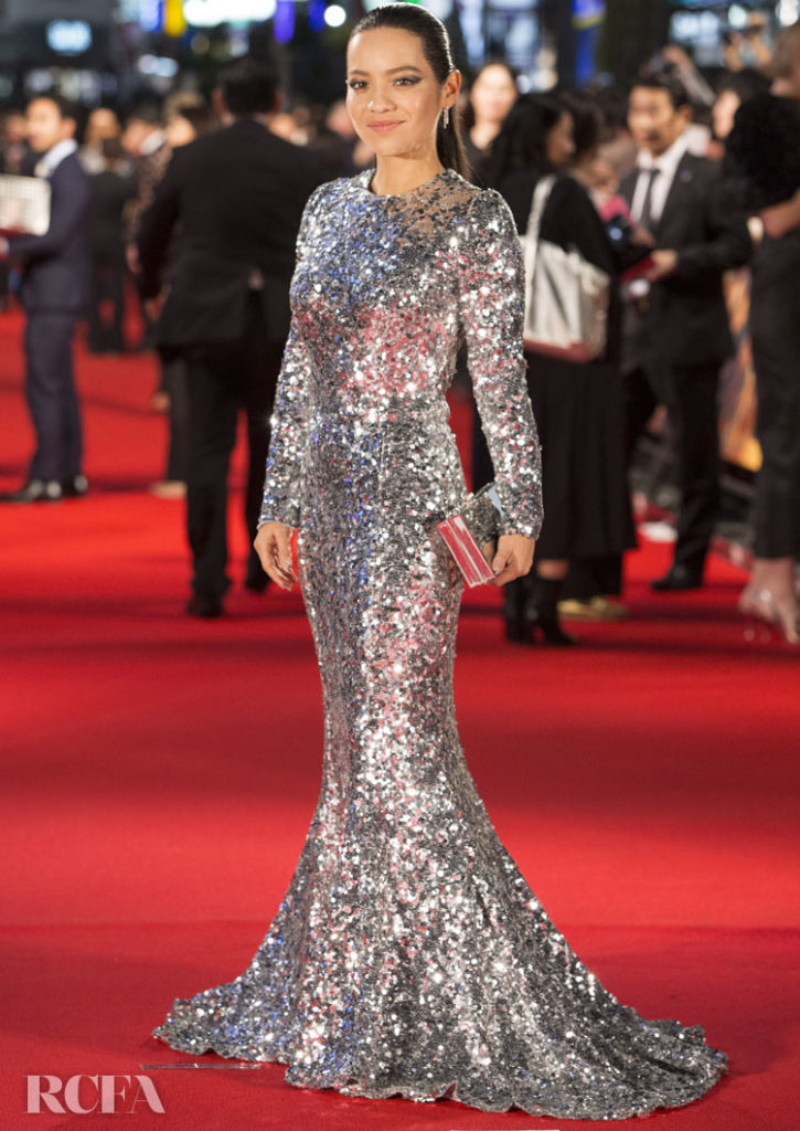 Natalia Reyes Captivates In Silver Dolce & Gabbana Sequins For The  'Terminator: Dark Fate' Tokyo Premiere