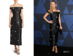 Renee Zellweger's Erdem Beaded Off-The-Shoulder Mikado Dress