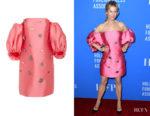 Renee Zellweger's Lela Rose Drop Shoulder Embellished Dress