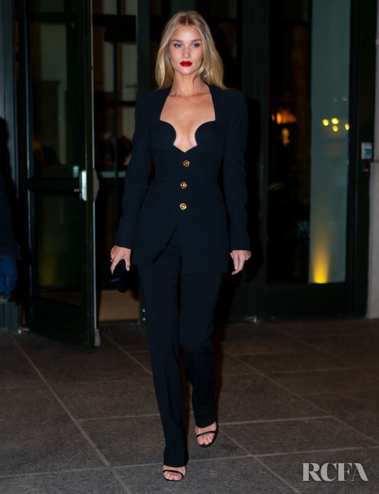 Rosie Huntington-Whiteley's Rocks A '90s Style Suit In New York City