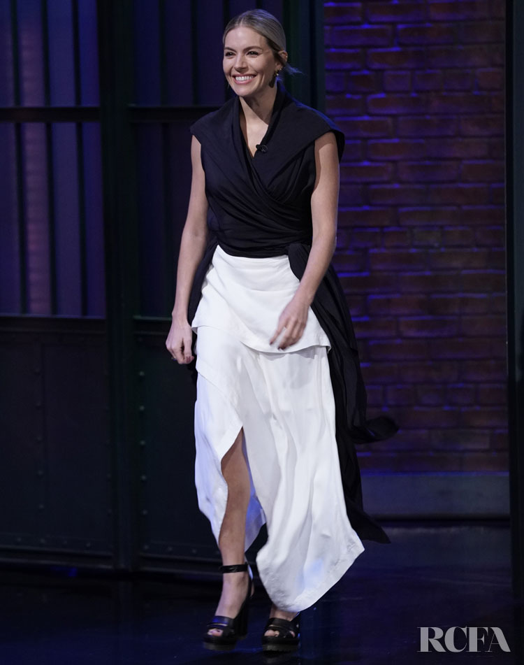 Sienna Miller Wore JW Anderson On Late Night with Seth Meyers