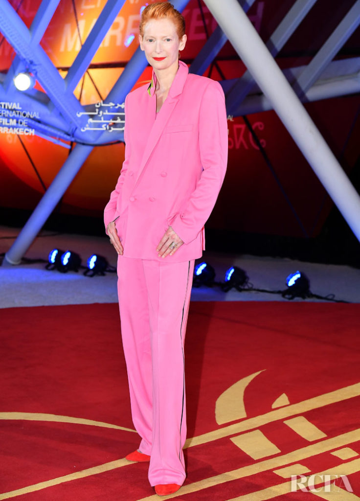 Tilda Swinton's Power Pink Suit For The Marrakech Film Festival Opening Ceremony