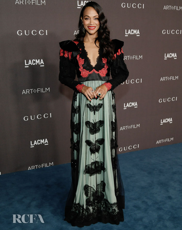 Zoe Saldana's Bewitching Lace Gucci Gown For The 2019 LACMA Art + Film Gala