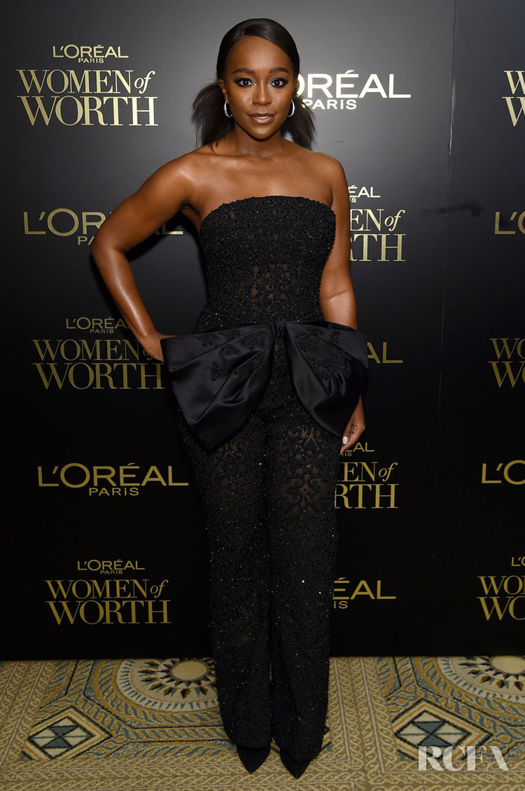 Aja Naomi King's Haute Couture Jumpsuit For The L'Oréal Paris Women Of Worth Awards