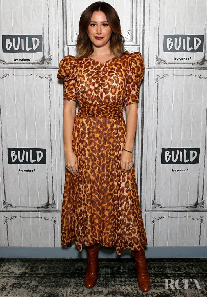 Ashley Tisdale Was Falling For Animal Print At Build Studios Promoting 'Merry Happy Whatever'