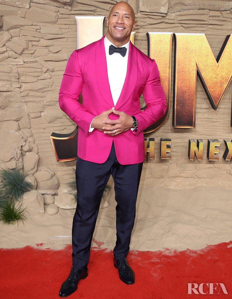 Dwayne Johnson Was Pretty In Pink Ralph Lauren For The 'Jumanji: The Next Level' London Premiere