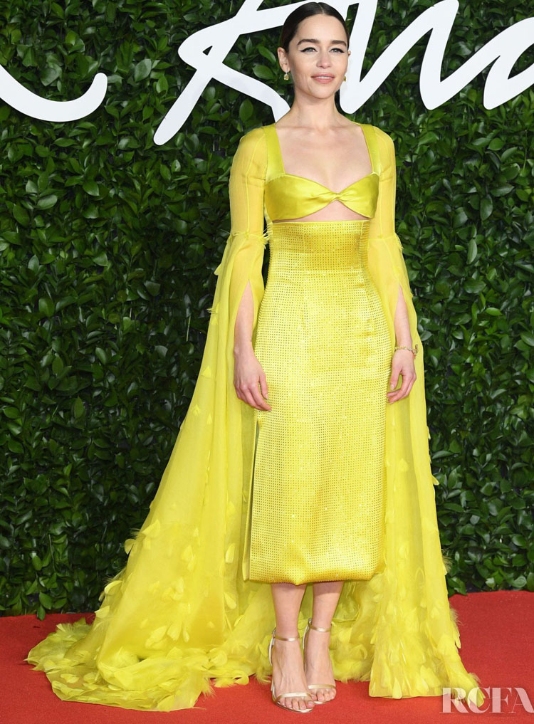 Emilia Clarke In Schiaparelli  Haute Couture - The Fashion Awards 2019