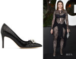Julia Fox's Giuseppe Zanotti 'Mandy' Alligator Print Pumps