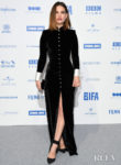 Lily James Sleek Black Velvet Dress For The 2019 British Independent Film Awards
