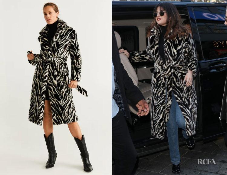 Selena Gomez's MANGO Belted Faux Fur Coat