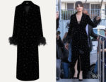 Selena Gomez's Miu Miu Velvet Feather & Crystal Embellished Coat