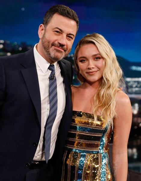 Florence Pugh Wore Galvan London On Jimmy Kimmel Live!