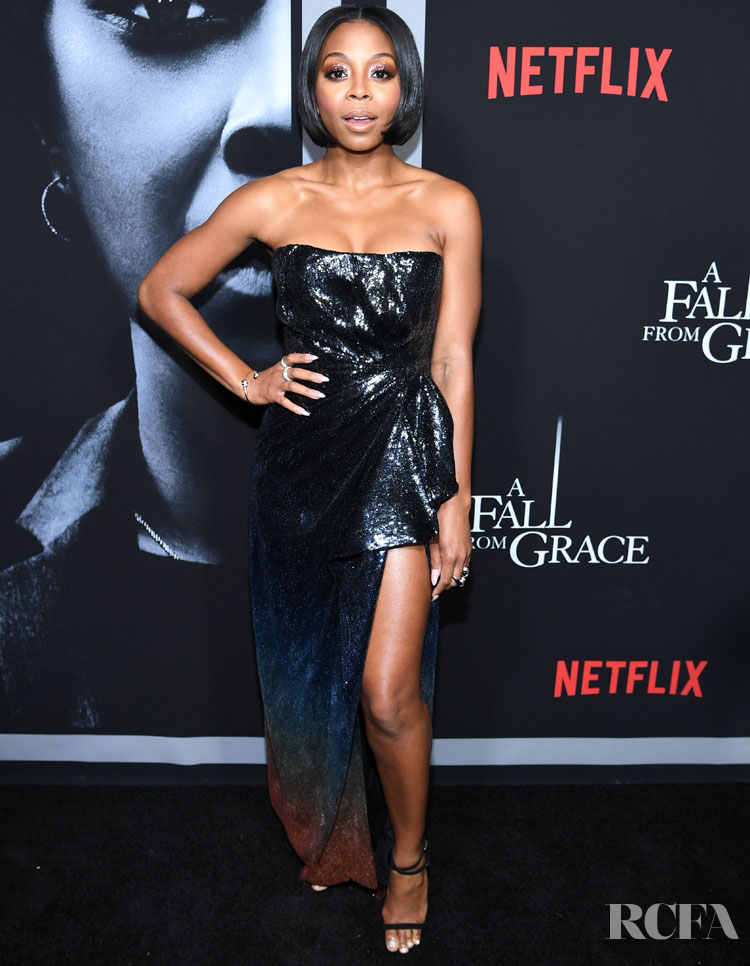 Bresha Webb Wore Mary Katrantzou To The New York Premiere For 'A Fall From Grace'
