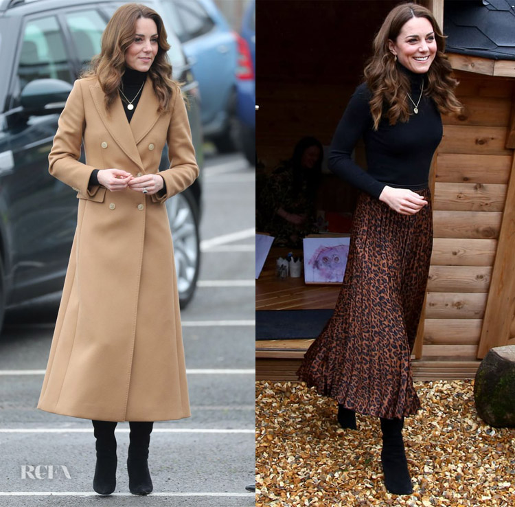 Kate Middleton Ely and Caerau Children's Centre Visit  Massimo Dutti coat Massimo Dutti turtleneck Zara skirt