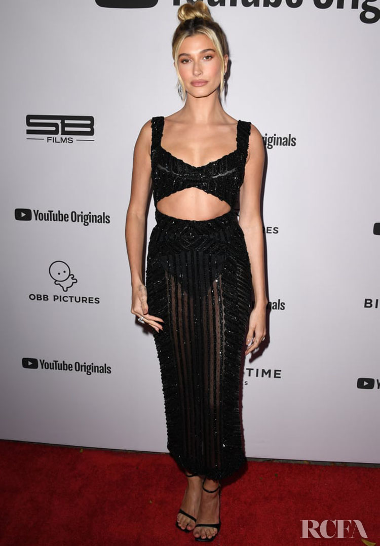 Hailey Bieber Wore Zuhair Murad Couture To YouTube Originals' Premiere Of 'Justin Bieber: Seasons'