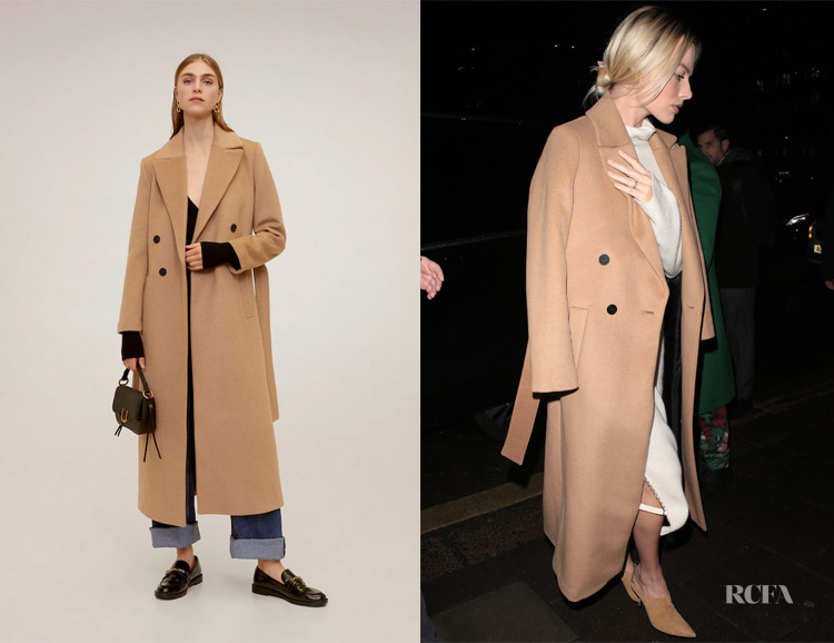 Margot Robbie S Mango Belted Wool Coat Red Carpet Fashion Awards