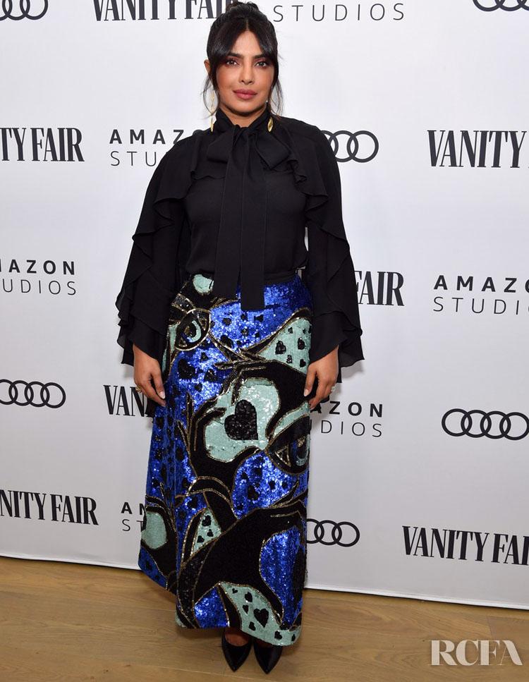 Priyanka Chopra Wore Elie Saab To The Vanity Fair x Amazon Studios 2020 Awards Season Celebration