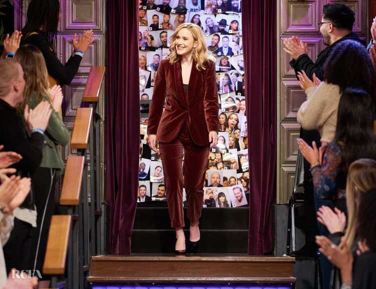 Rachel Brosnahan Wore Brunello Cucinelli On The Late Late Show With James Cordon