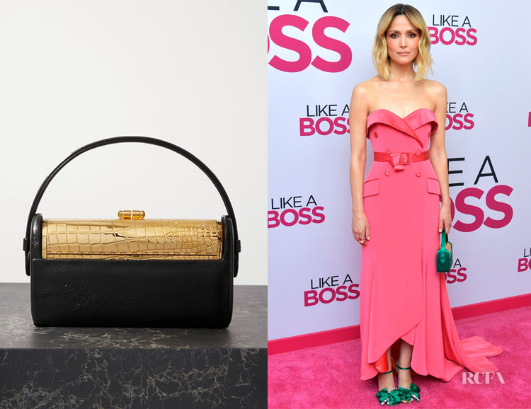 Rose Byrne's Bienen-Davis Régine Textured Patent-Leather and Gold-Dipped Tote