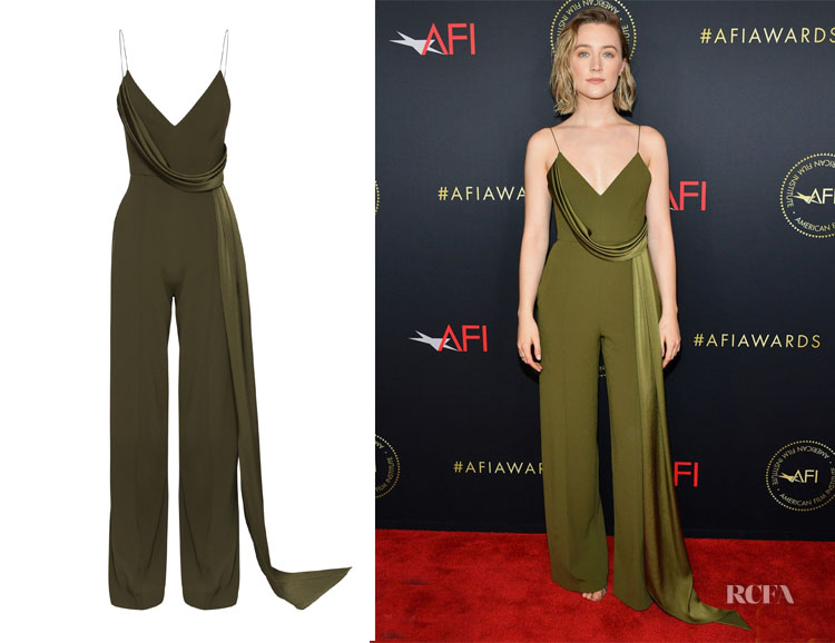Saoirse Ronan's Alex Perry Harlow Drape-Detailed Jumpsuit