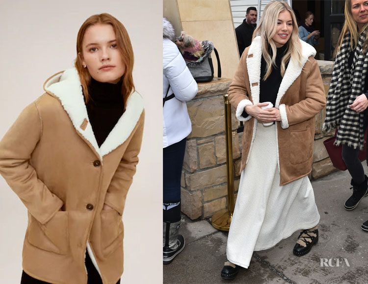Sienna Miller's MANGO Faux Shearling Lining Coat