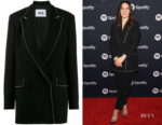 Sophia Bush's MSGM Black Crystal-Embellished Oversized Blazer