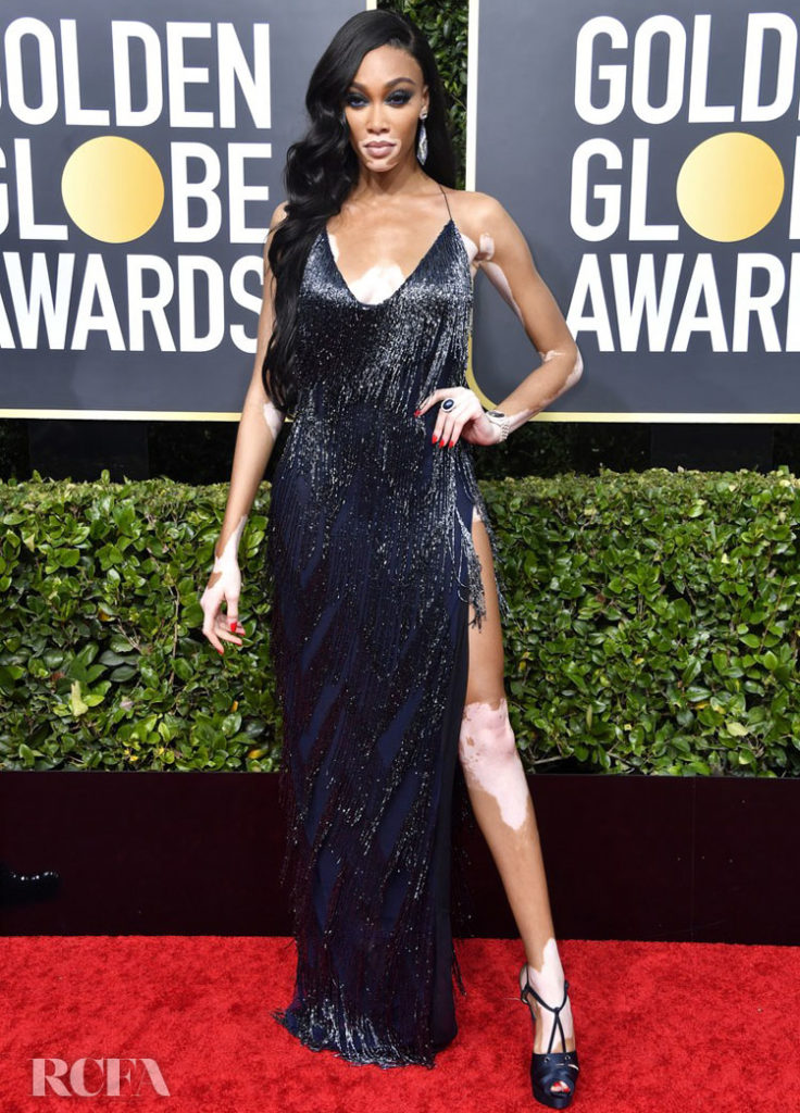 winnie Harlow in Laquan Smith - 2020 Golden Globe Awards