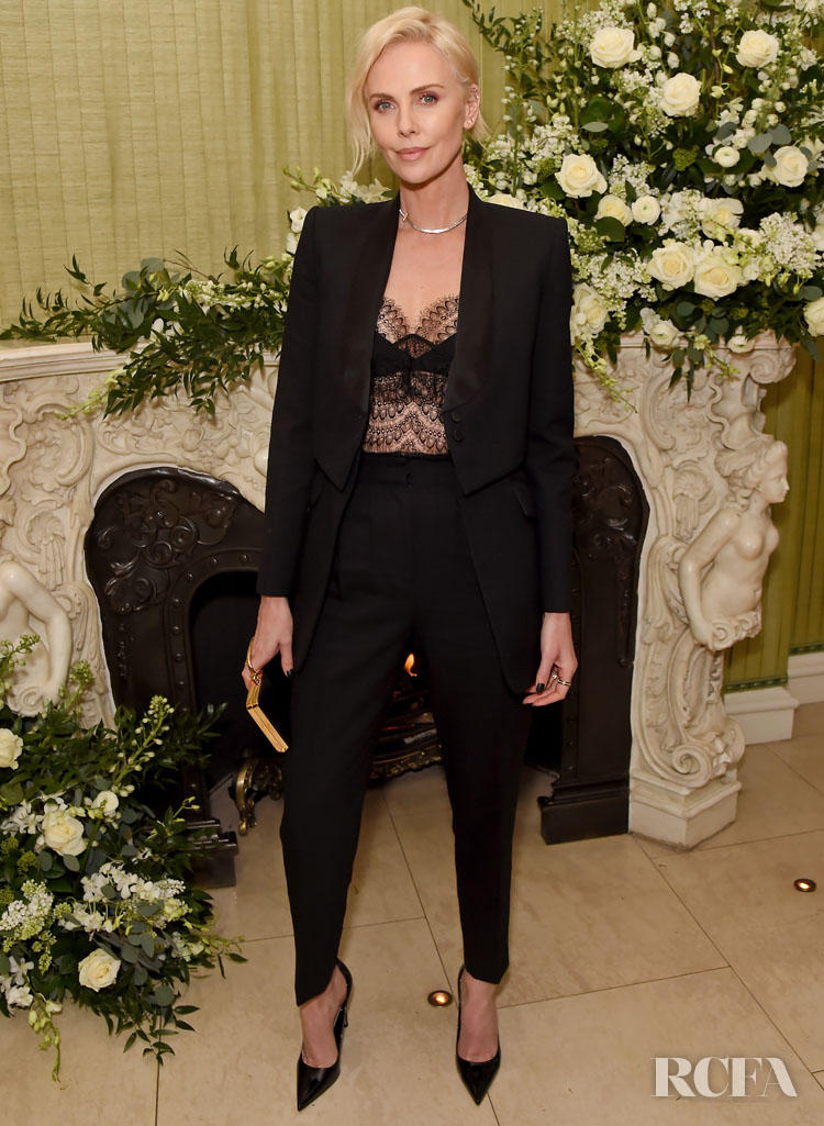 Charlize Theron Wore Alexander McQueen To The British Vogue BAFTA After Party