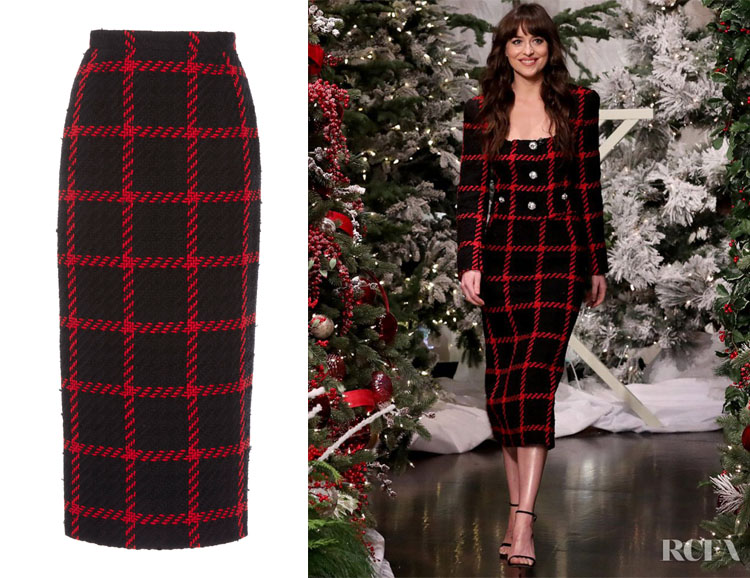 Dakota Johnson's Alessandra Rich Checked Tweed Skirt