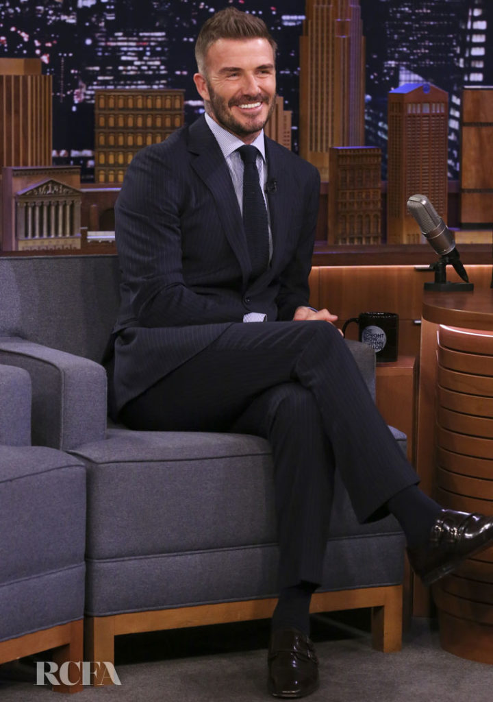 David Beckham Wore Ralph Lauren Purple Label On The Tonight Show Starring Jimmy Fallon
