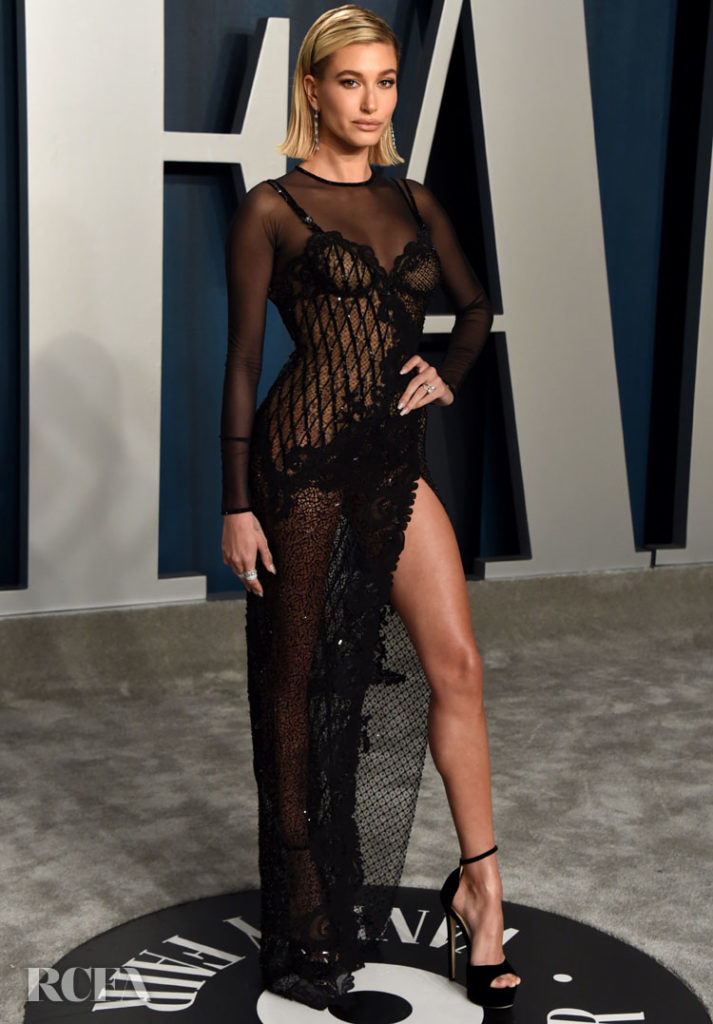 Hailey Bieber In Atelier Versace -  2020 Vanity Fair Oscar Party