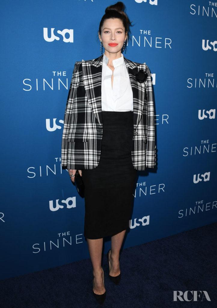 Jessica Biel Wore Alexandre Vauthier Haute Couture To The 'The Sinner' Season 3 Premiere