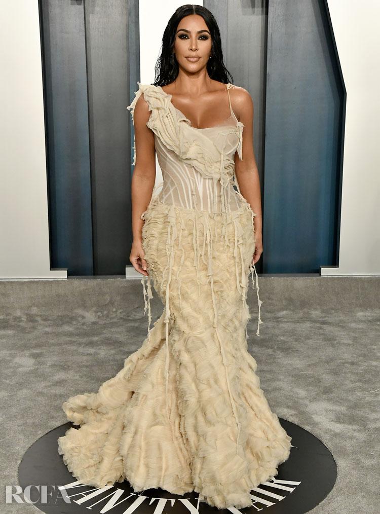 Kim Kardashian In Vintage Alexander McQueen - 2020 Vanity Fair Oscar Party