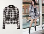 Lucy Hale's Maje Vicky Houndstooth Jacket