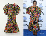 Mindy Kaling's Carolina Herrera Cold-Shoulder Fluted Floral-Print Dress