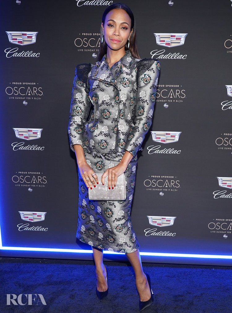 Zoe Saldana Wore Brock Collection To The Cadillac Celebrates The 92nd Annual Academy Awards Party
